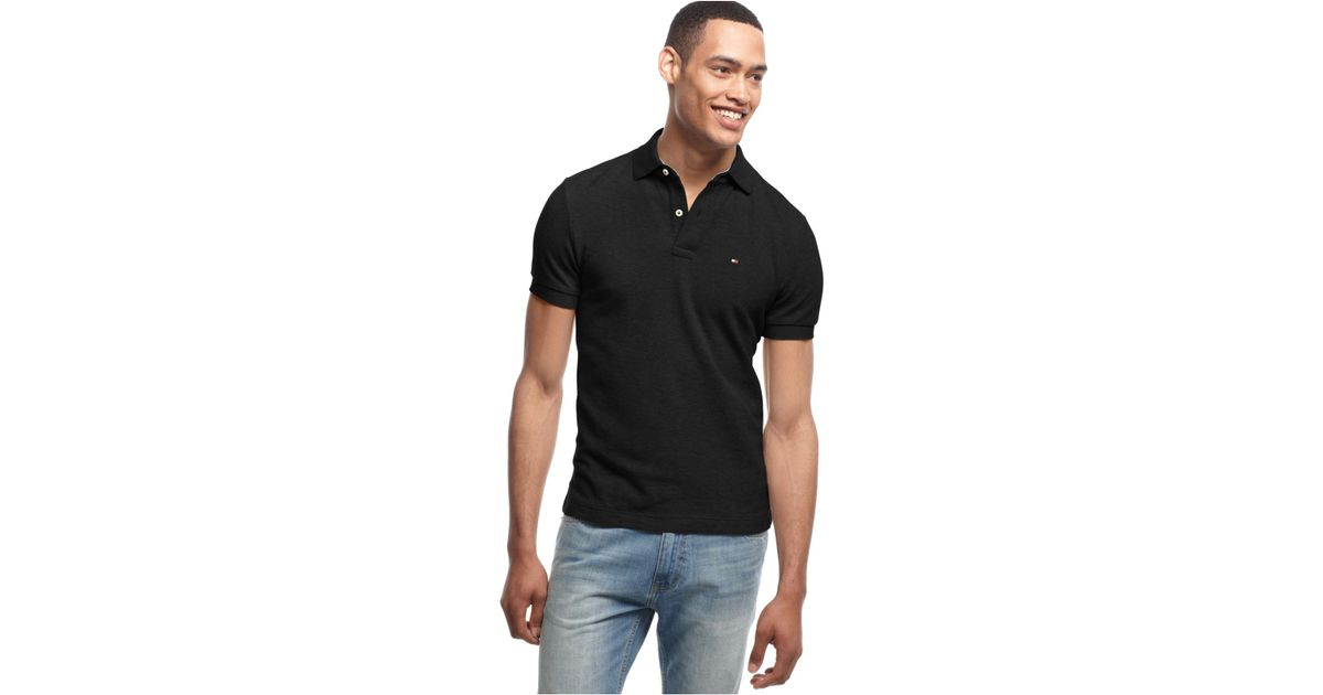 5acbb684 Tommy Hilfiger Custom Fit Ivy Polo in Black for Men - Lyst