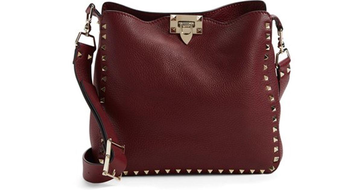 b583b287946 Valentino 'small Rockstud' Leather Hobo Bag - Burgundy in Purple - Lyst