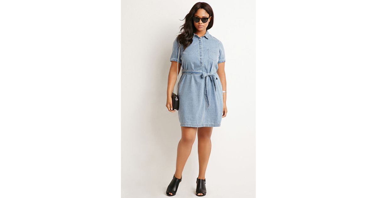 Forever 21 Plus Size Belted Chambray Shirt Dress In Gray
