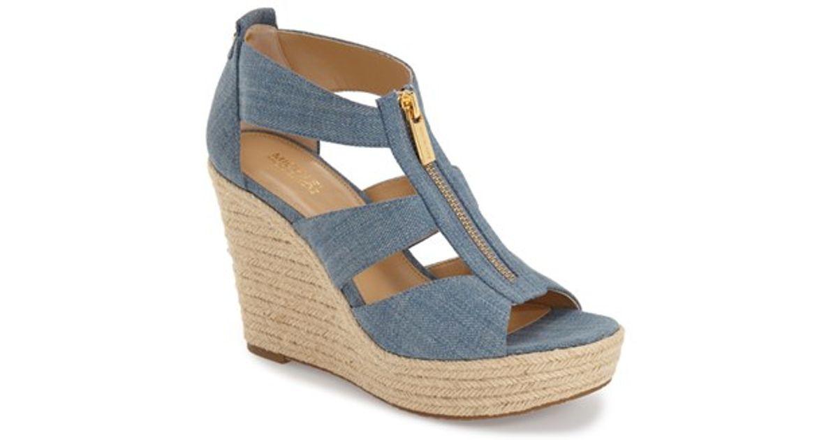 024552290fa Lyst - MICHAEL Michael Kors  damita  Wedge Sandal in Blue