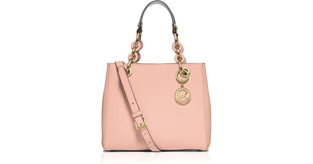 a496b07d4e ... leather extra small crossbody bag 9ac5b f790c  denmark lyst michael  michael kors satchel small cynthia saffiano in pink f0537 d5518