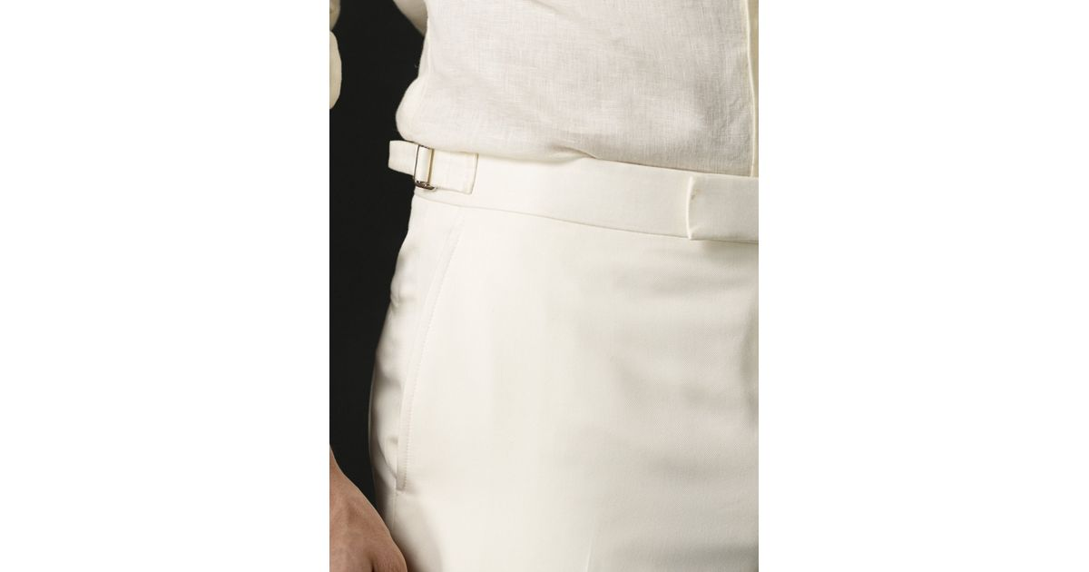 000919438 Ralph Lauren Purple Label Silk Twill Harrison Pant in White for Men - Lyst