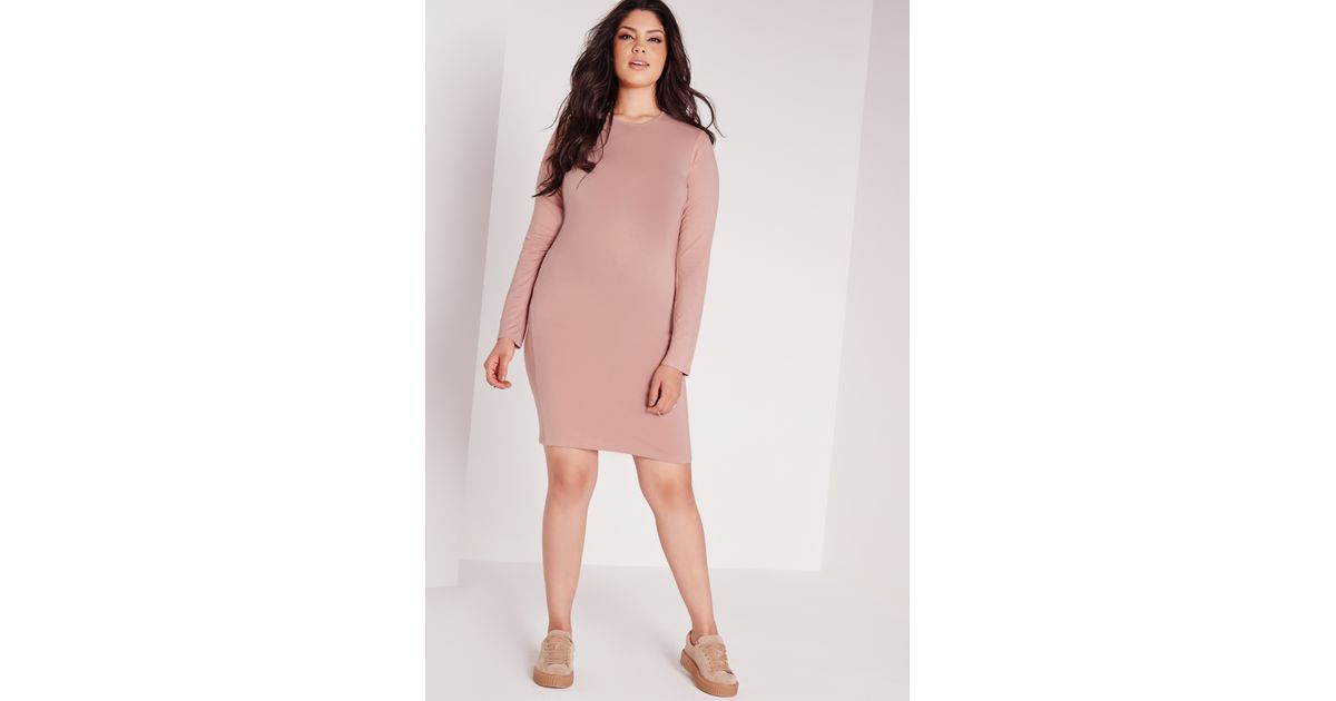 9192869a3d Lyst - Missguided Plus Size Long Sleeve Bodycon Dress Pink in Pink
