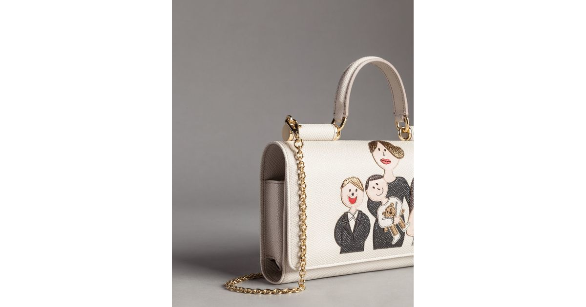 f2bf3c54fc0 Lyst - Dolce   Gabbana Calfskin Mini Lipstick Bag With Patch Family in White