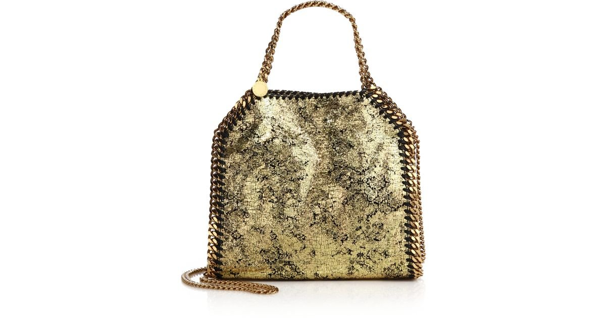 Lyst - Stella McCartney Falabella Mini Baby Bella Metallic Faux Suede Tote  in Metallic cddf97b700fad