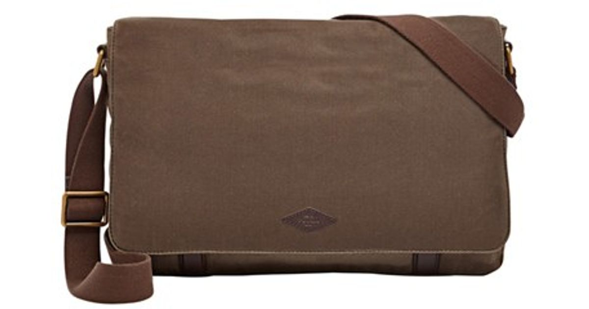 Lyst - Fossil  aiden  Waxed Canvas Messenger Bag in Brown for Men