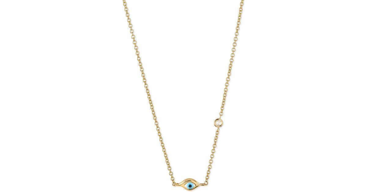 6d7af84ba4175 Lyst - Sydney Evan 14k Gold Mini Evil Eye Necklace With Diamond in Yellow