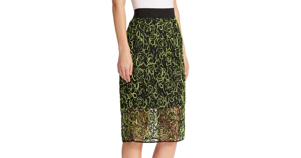 milly floral mesh midi skirt in yellow lyst