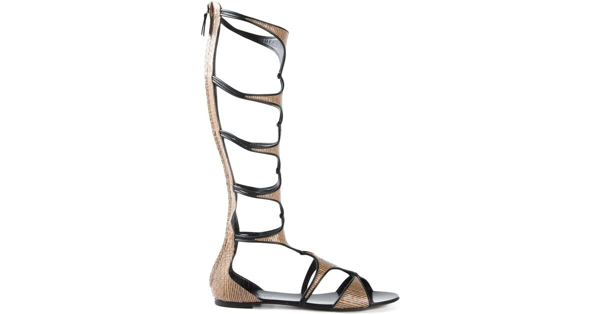 7a78e4396dd6 Casadei Mid-Calf Gladiator Sandals in Natural - Lyst