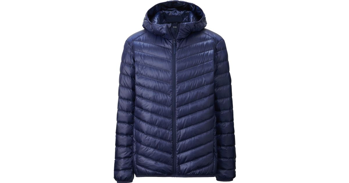 uniqlo men ultra light down hooded jacket in blue for men lyst. Black Bedroom Furniture Sets. Home Design Ideas
