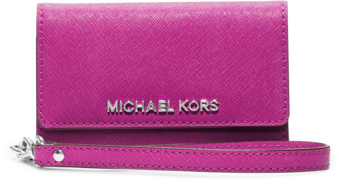 b30215b85f6ad5 Michael Kors Saffiano Leather Phone Wristlet For Iphone 5 in Pink - Lyst