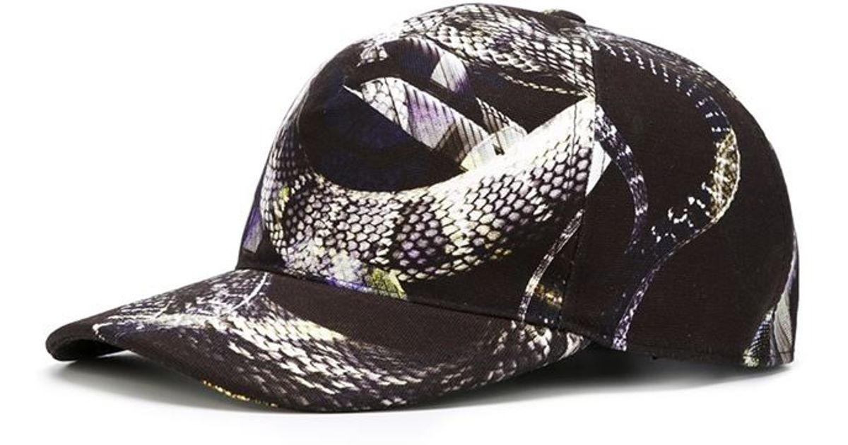 Lyst - Just Cavalli Snake Print Cap in Black for Men 90920aecbee