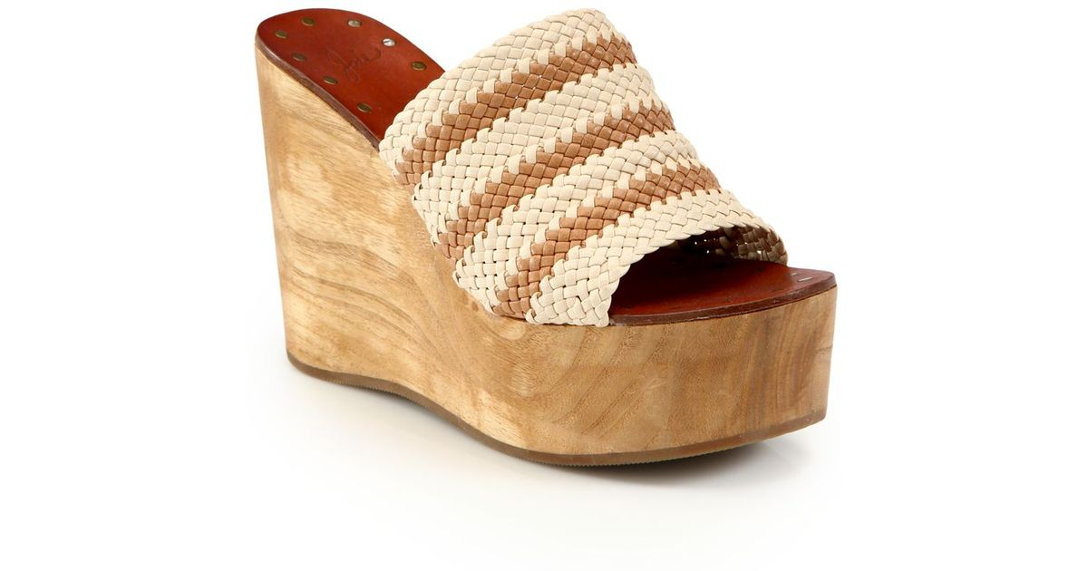 9667c4bb3e0 Joie Woven Leather Wood Platform Wedge Sandals - Lyst