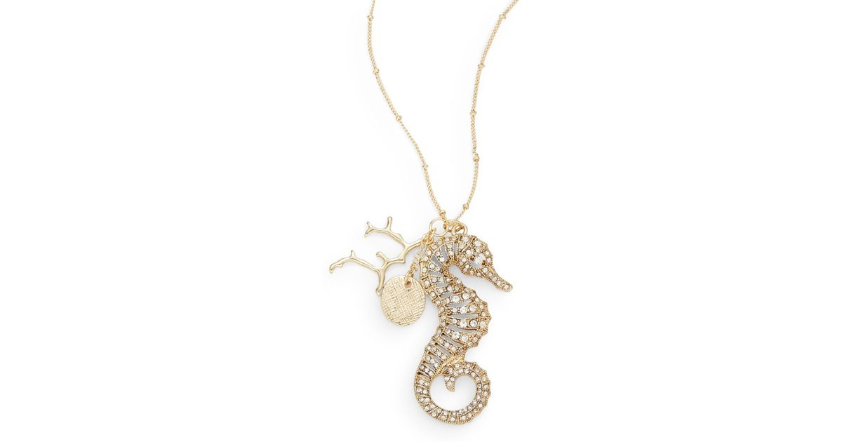 Lyst saks fifth avenue seahorse pendant necklace in metallic aloadofball Image collections