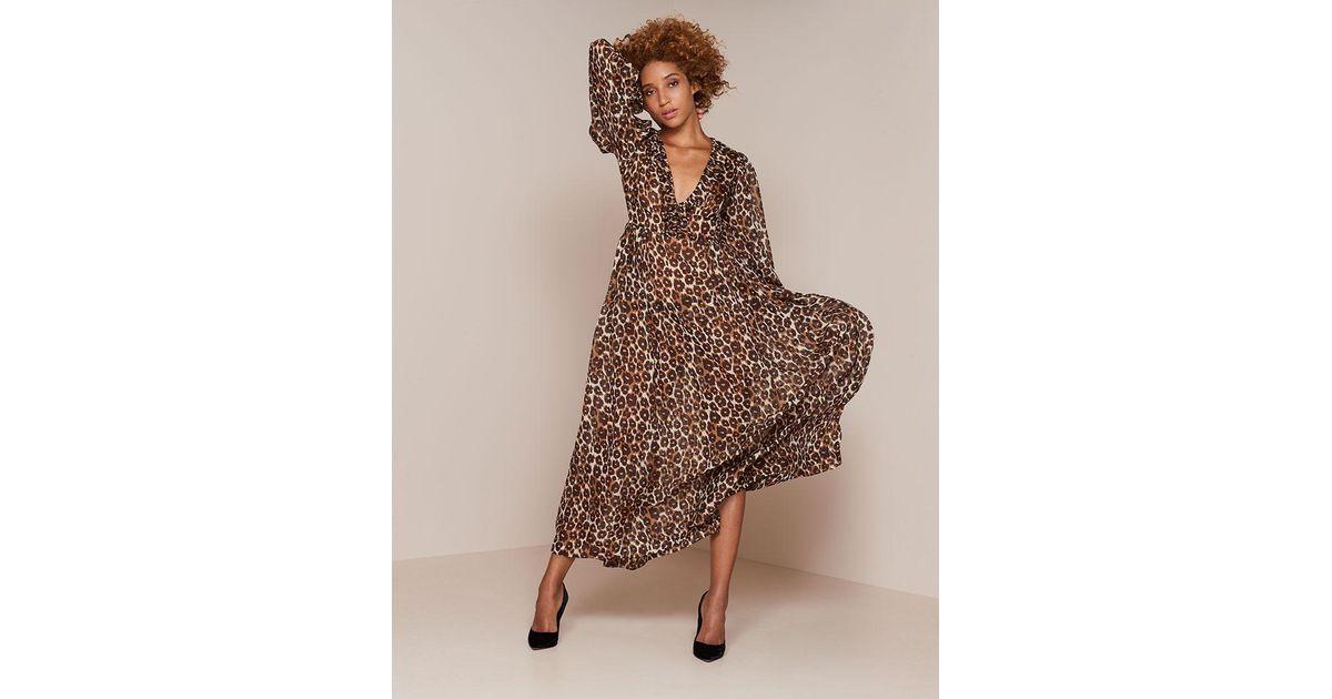 72e0512abd Lyst - Agent Provocateur Novak Long Dress Brown Leopard Print in Brown