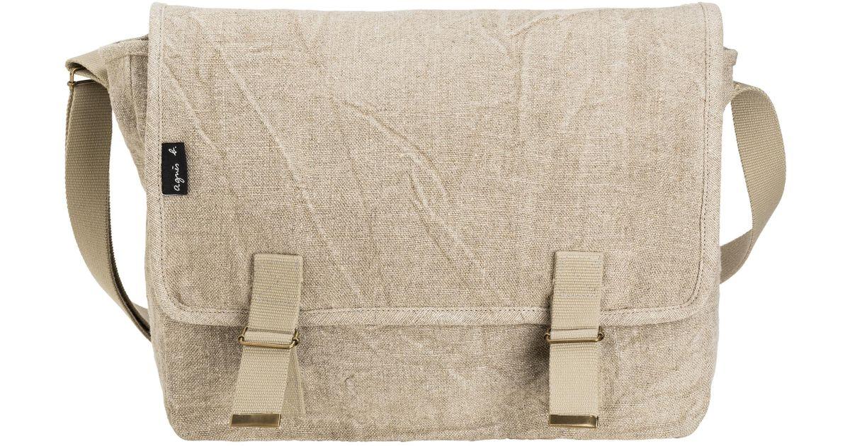5a0314b5c Lyst - agnès b. Beige Linen Gael Messenger Bag in Natural