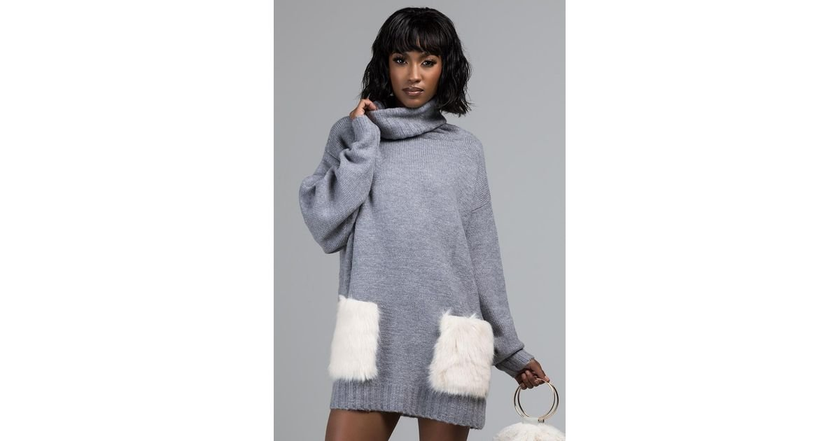 08dff145f75b Lyst - AKIRA By The Bonfire Fur Pocket Cowl Neck Sweater Dress in Gray