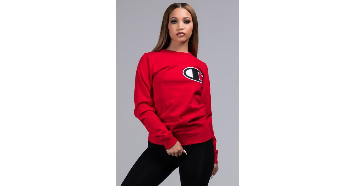 8ab7ab59786 Lyst - Champion Unisex Heritage Long Sleeve Tee With Large C Logo in Red
