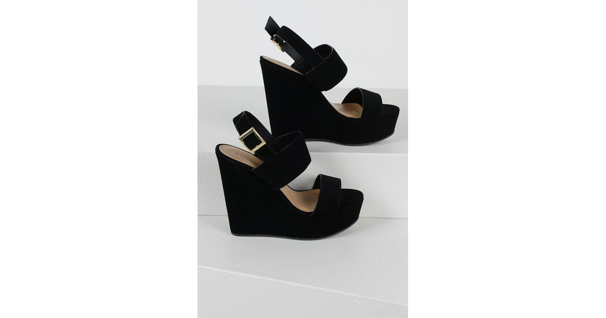 143337542f Lyst - AKIRA Comfy And Sexy Wedge Sandals in Black