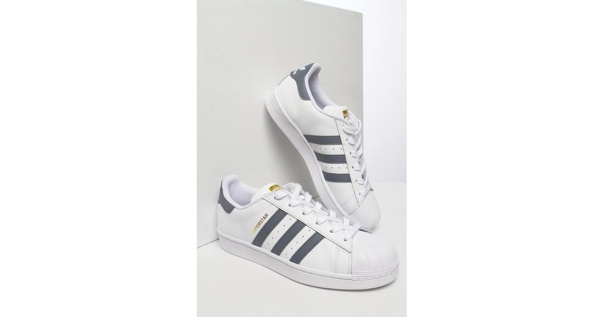 2dc649a53b90 Lyst - adidas Womens Superstar In White   Grey in White