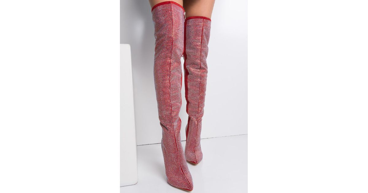 72cd00aa328 Lyst - AKIRA  preorder  Expected Ship Date 11 15 - You Should Be Dancing  Rhinestone Thigh High Stiletto Boots in Red