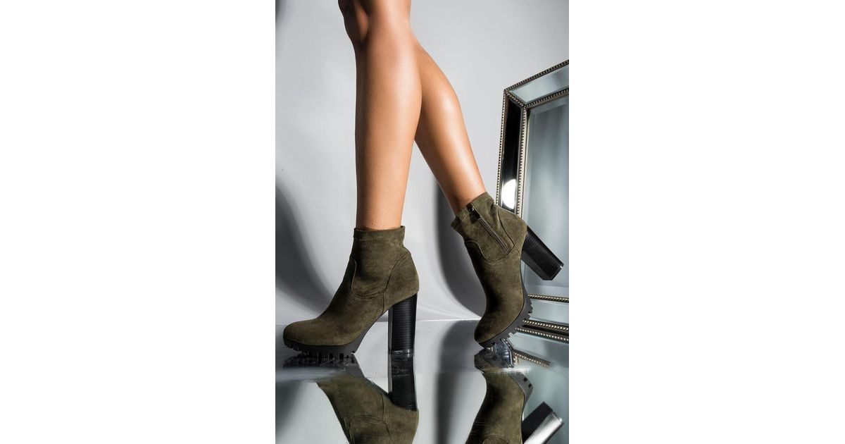 01a1a93f209 Unk Azalea Wang Keep Up The Pace Suede Chy Heeled Bootie in Green - Lyst