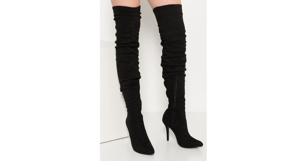 795f0bac550 Lyst - AKIRA Monet Over The Knee Ruched Pointed Toe Boot in Black