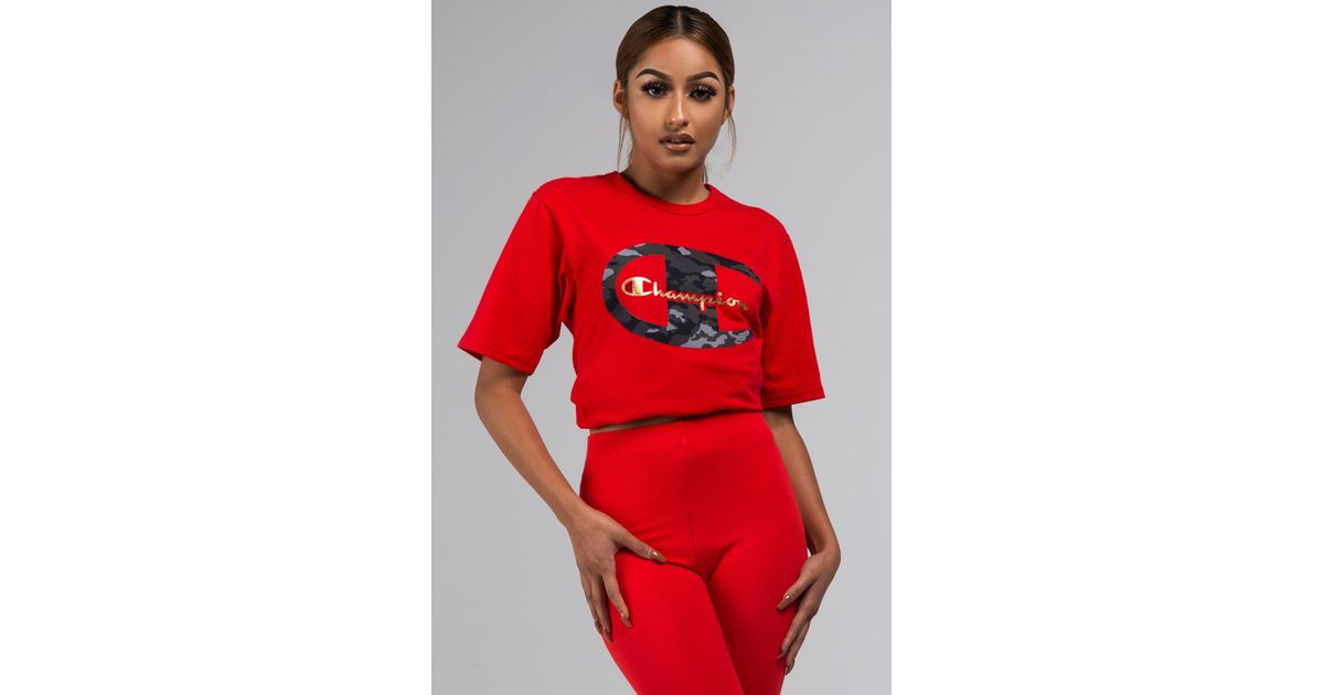 feba2fd7 Lyst - Champion Heritage Tee With Camo C & Gold Script in Red