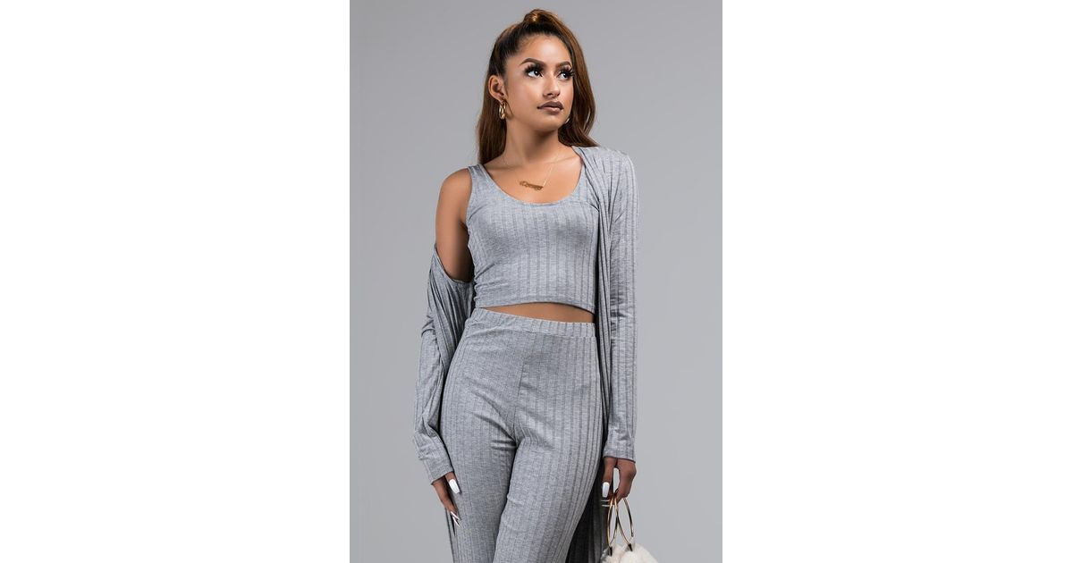 c792a2dd7ce1e7 AKIRA Make A Wish Ribbed Crop Top in Gray - Lyst