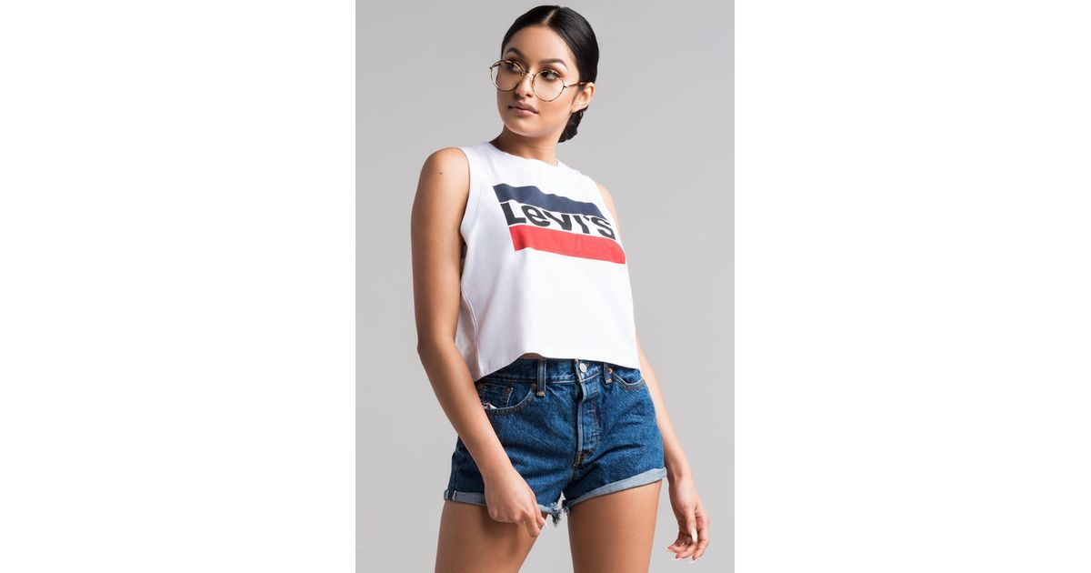 f85ffb2a4167fe Lyst - Levi s Graphic Crop Tank in White