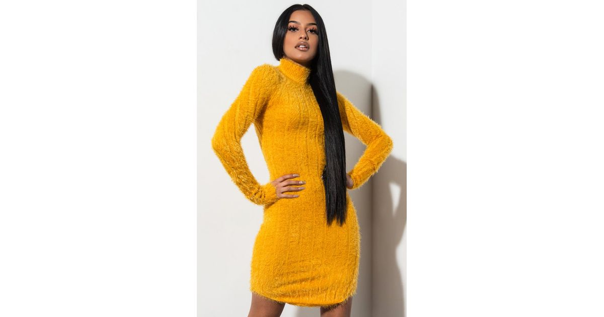 f8cba869748 Lyst - AKIRA One Less Lonely Girl Fuzzy Sweater Dress in Yellow