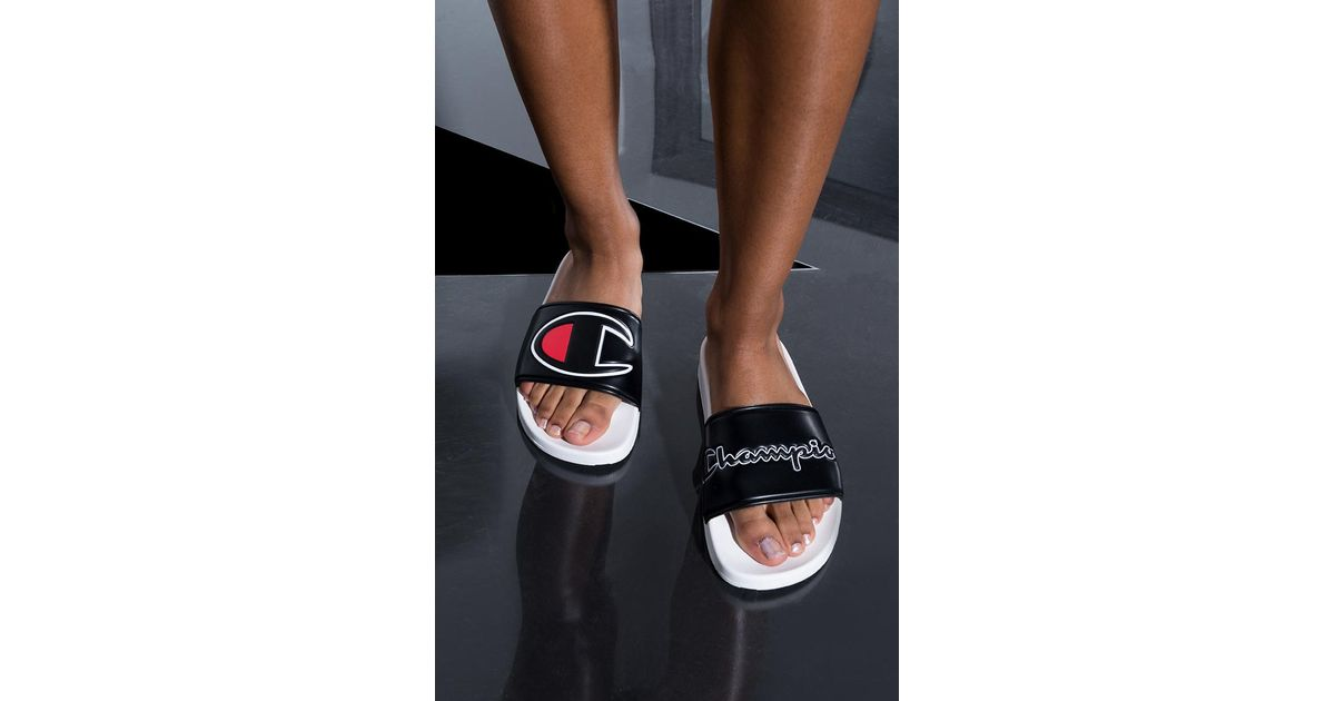 58d56187c7c8b Lyst - Champion Womens Ipo Script And Big C Logo Slide Sandal in Black for  Men