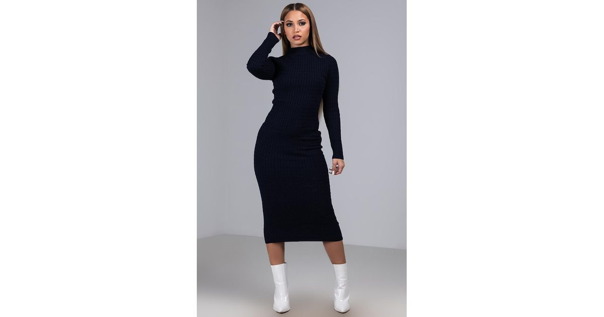 365c583427f Lyst - AKIRA Keep It Cozy Cable Knit Sweater Dress in Blue