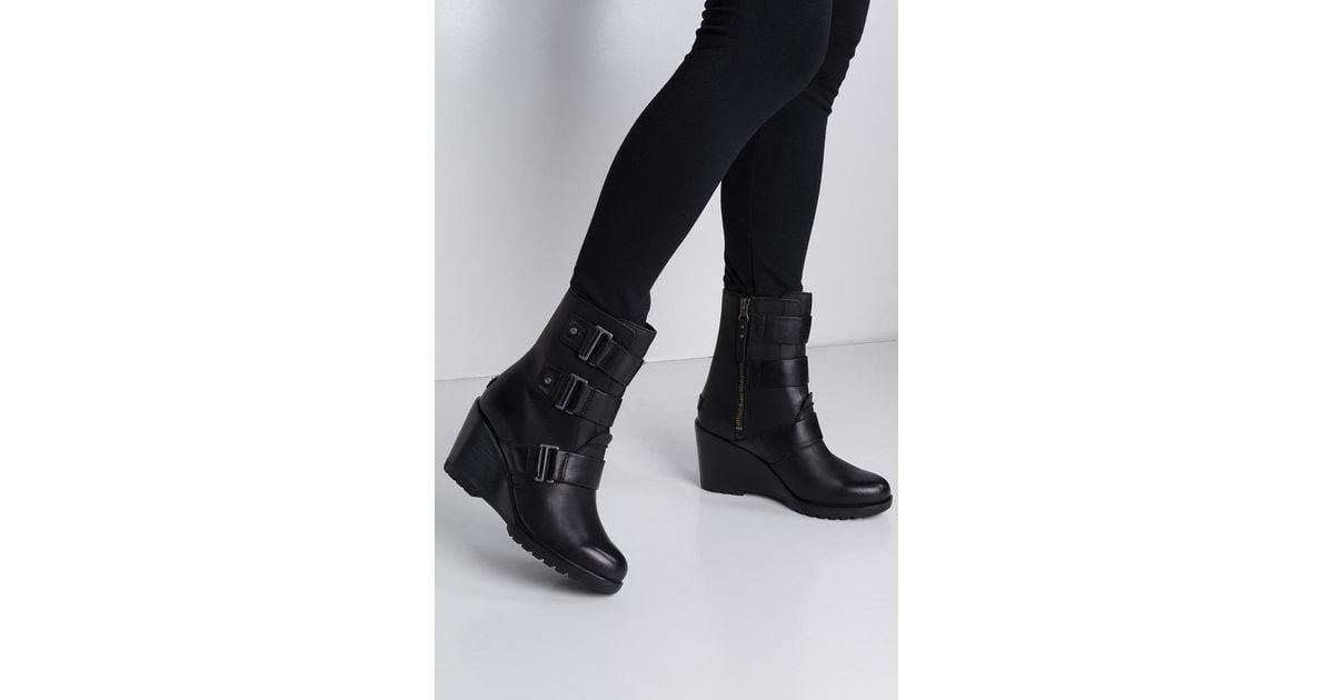 8e7ec5bcef3 Lyst - Sorel After Hours Waterproof Leather Wedge Bootie in Black