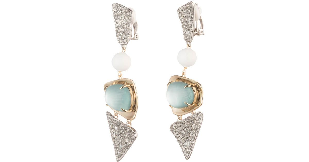 Alexis Bittar Crystal Encrusted Plaid Clip Earring New labradorite t0or9
