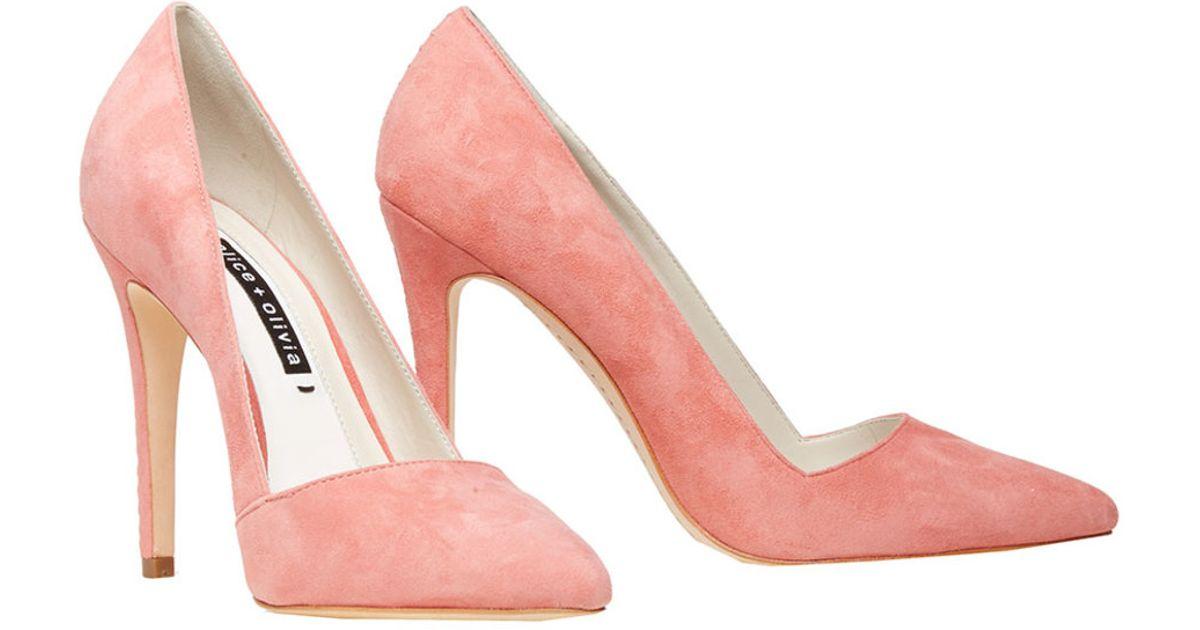 c182b62930f Lyst - Alice + Olivia Dina Suede Heel in Pink