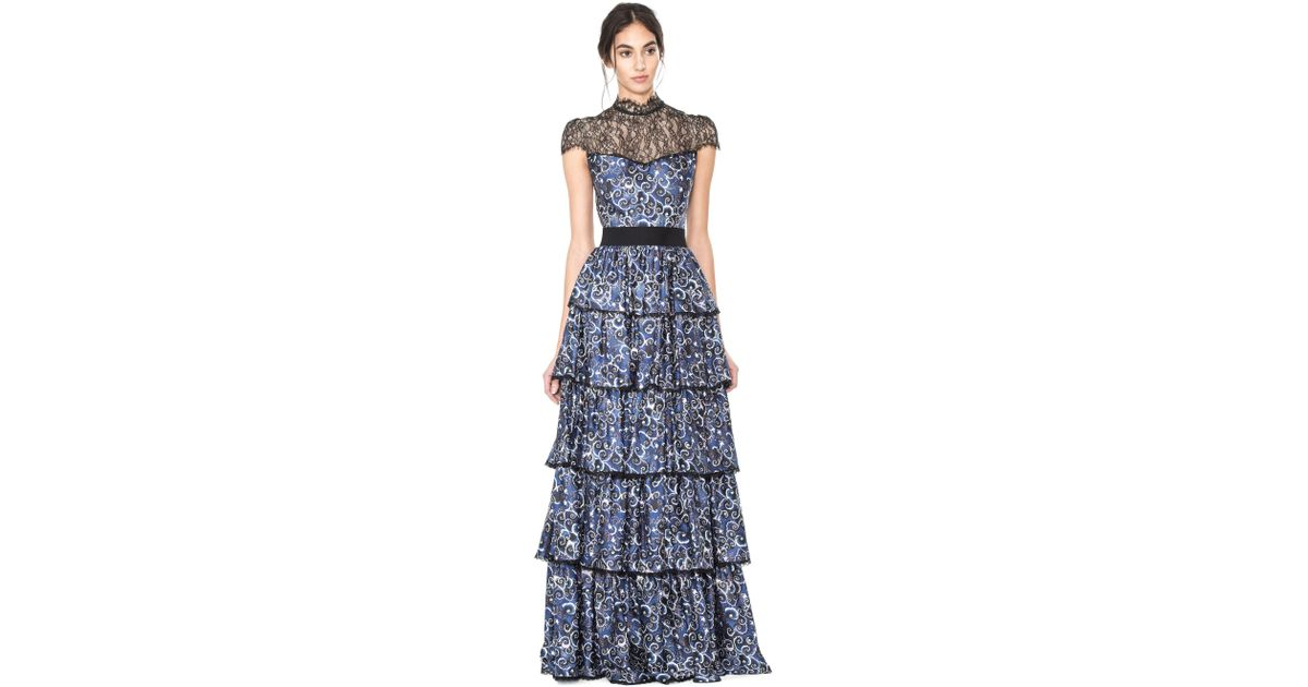 bd00b9fbed00 Lyst Alice Olivia Mckee Tiered Maxi Dress In Blue