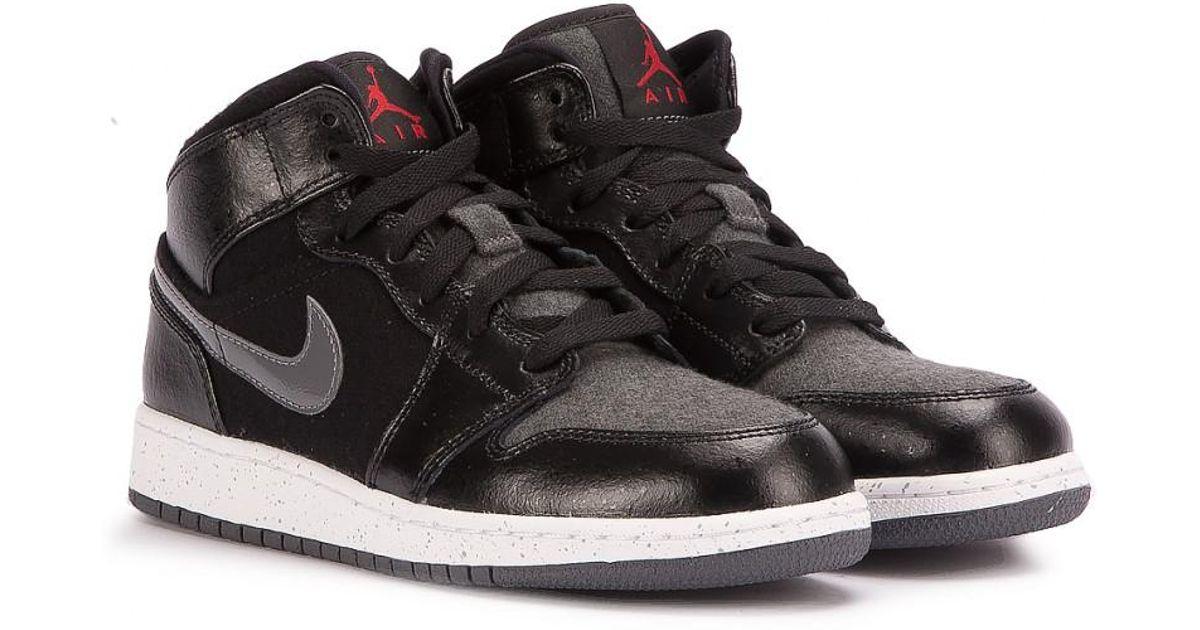Lyst - Nike Air Jordan 1 Mid Prem Bg in Black for Men e1b71185b