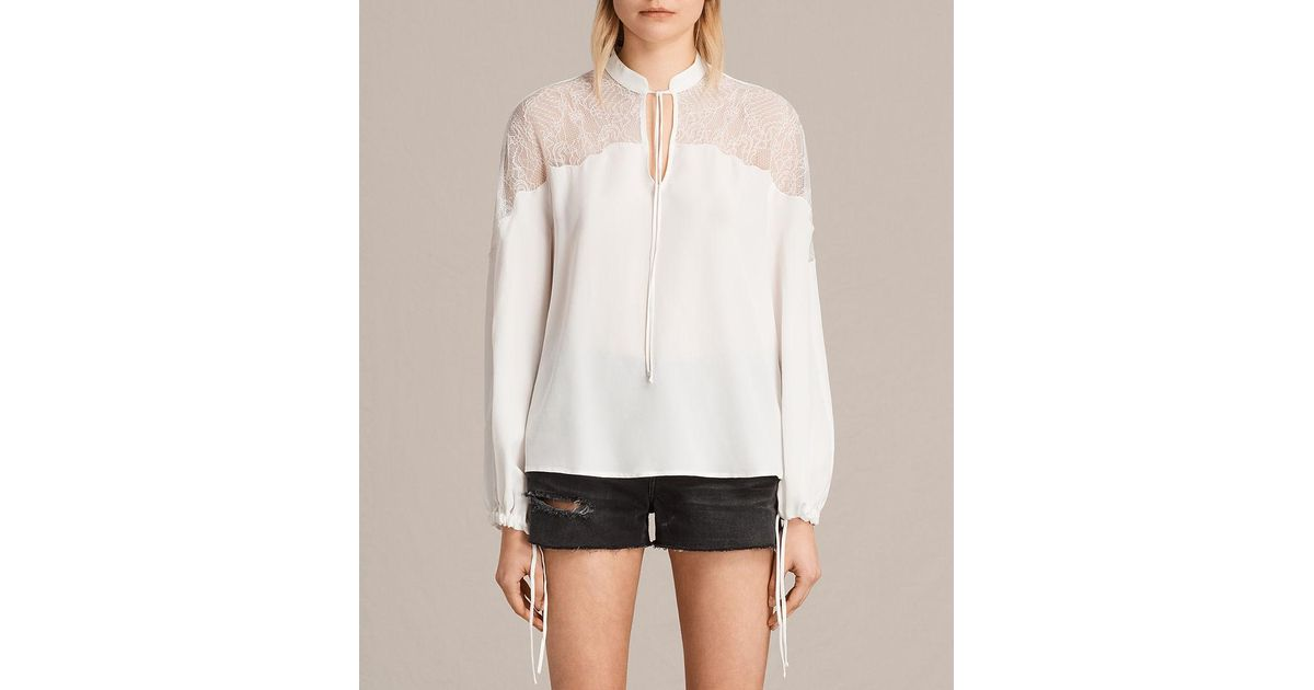 026f0d09d0cc14 Lyst - AllSaints Laya Lace Silk Shirt in White
