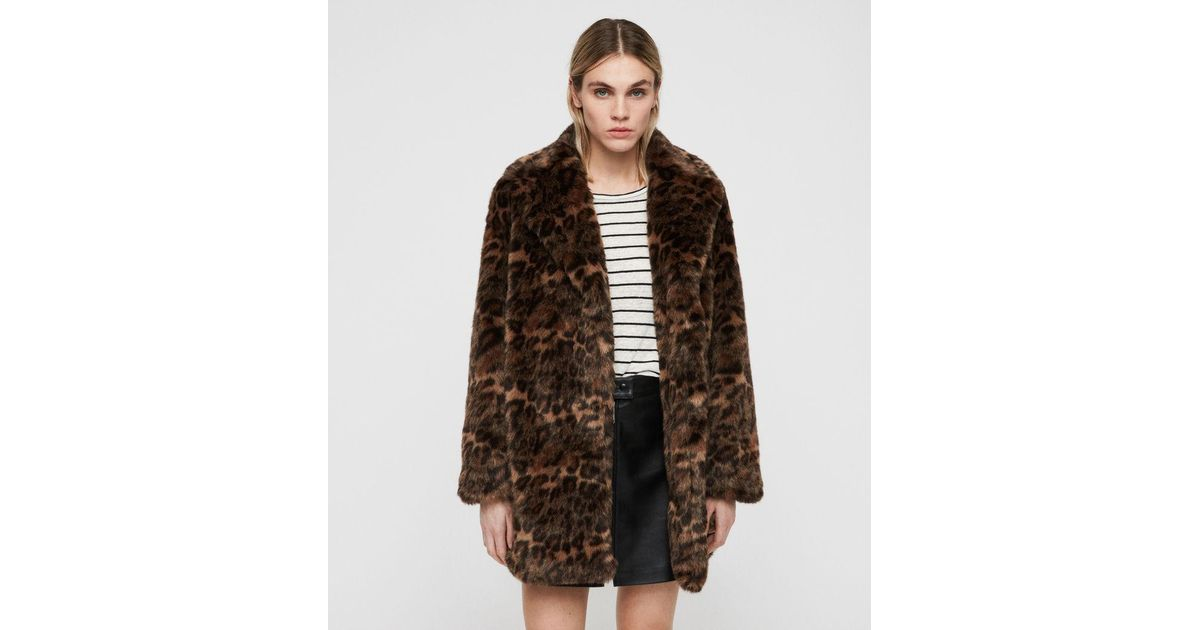 7b58bd2b6123 AllSaints Amice Leopard Spot Faux Fur Jacket in Brown - Lyst