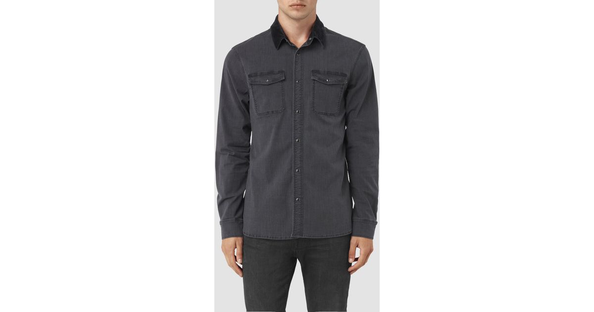 2a06f790dc Lyst - AllSaints Dyce Denim Shirt in Gray for Men