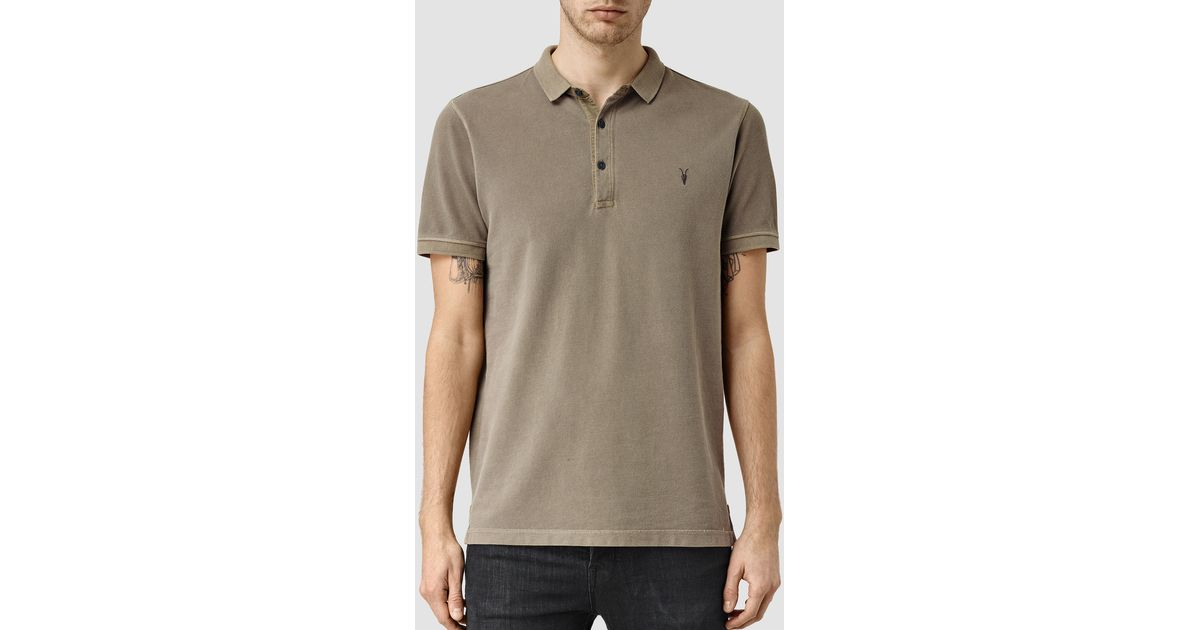 Allsaints reform polo shirt in gray for men lyst for All saints polo shirt