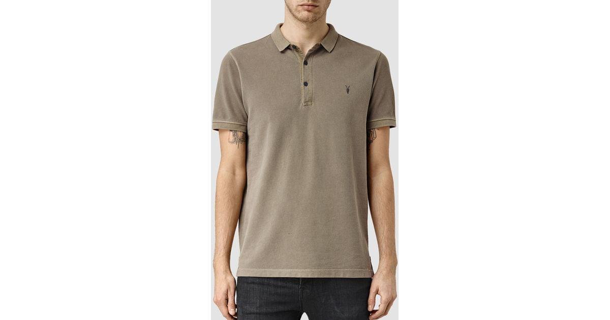 Allsaints Reform Polo Shirt In Gray For Men Lyst