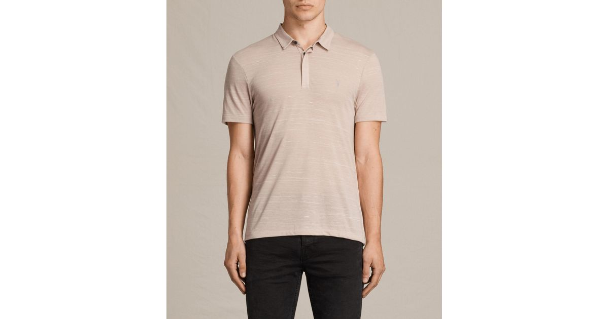 Allsaints Stanley Polo Shirt In Pink For Men Lyst