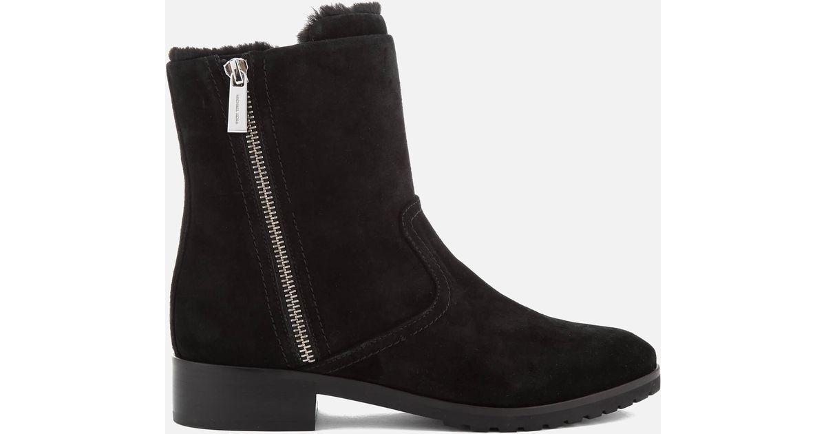 b1f99afc03f75 Lyst - Michael Michael Kors Women s Andi Suede faux Fur Biker Boots in Black