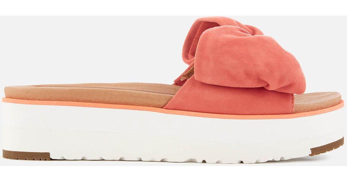 974e9365b59 Ugg - Orange Joan Suede Bow Flatform Slide Sandals - Lyst