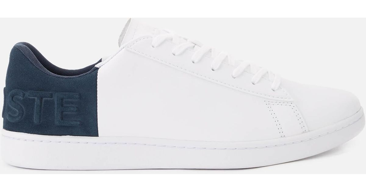 047d5a60eef18e Lacoste Carnaby Evo 318 6 Trainers In White With Blue in White for Men -  Save 57% - Lyst