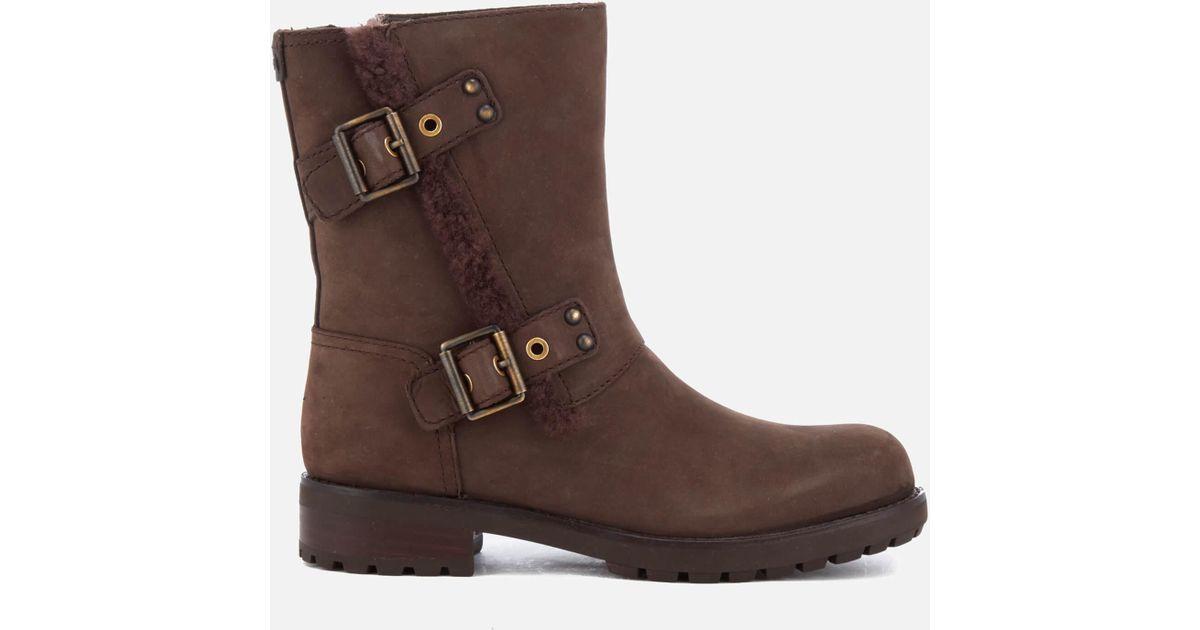 bd840166435 Ugg - Brown Women's Niels Leather Biker Boots - Lyst