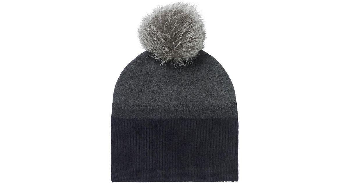 Lyst - Amanda Wakeley Midnight Cashmere Fur Bobble Hat in Blue for Men f92d143fd5dd
