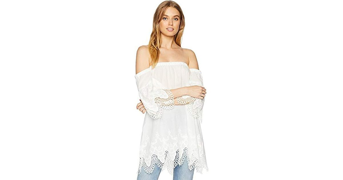 1dd06edb60d Lyst - MINKPINK Charlotte Broderie Off Shoulder Dress in White